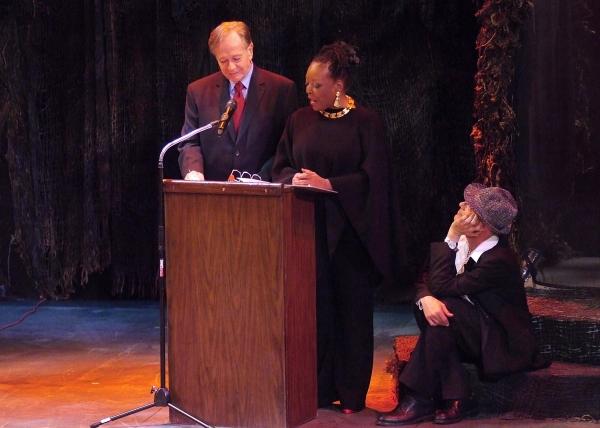 Sam Anderson (Blackbird) and L. Scott Caldwell (A Raisin in the Sun) present an award, as David C. Nichols (LADCC) looks on.