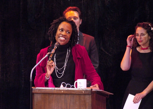 Charlayne Woodard (The Night Watcher) accepts the Solo Performance award as Seamus Dever and Sharon Perlmutter (LADCC) look on.