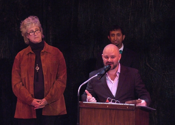 David Wiener (Extraordinary Chambers) accepts the Ted Schmitt Award for the world premiere of an outstanding new play, as Lori Thimsen of award sponsor Samuel French, Inc. and Mayank Keshaviah (LADCC) look on.