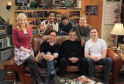 Melissa Rauch, Johnny Galecki, Leonard Nimoy & Jim Parsons at Leonard Nimoy On the Set of THE BIG BANG THEORY