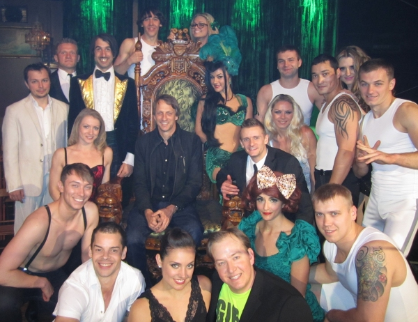 Tony Hawk and the cast of Absinthe