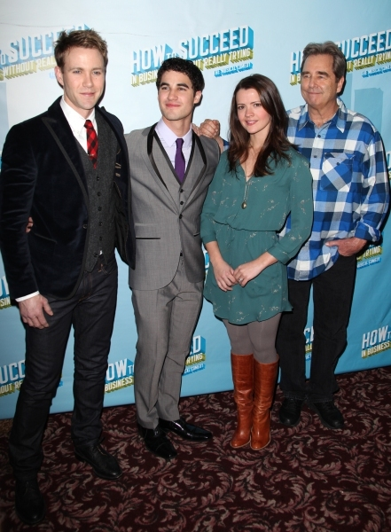 Christopher J. Hanke, Darren Criss, Rose Hemingway & Beau Bridges  Read more: http://broadwayworld.com/viewcolumn.cfm?colid=324930&preview=on#ixzz1qKjPSVBX at Happy First Birthday to Broadway's HOW TO SUCCEED!