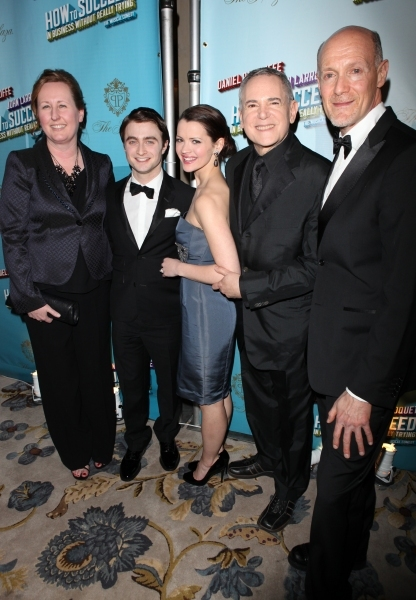 Daniel Radcliffe & Rose Hemingway with producers Craig Zadan & Neil Meron