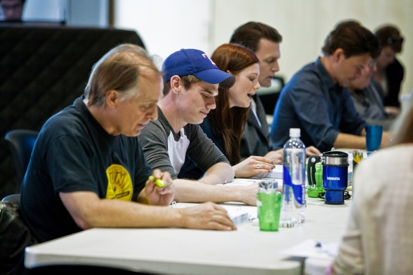 Keith Carradine, Jay Armstrong Johnson, Allison Case, Jarrod Emick, and Hunter Foster at In Rehearsals With HANDS ON A HARDBODY at La Jolla