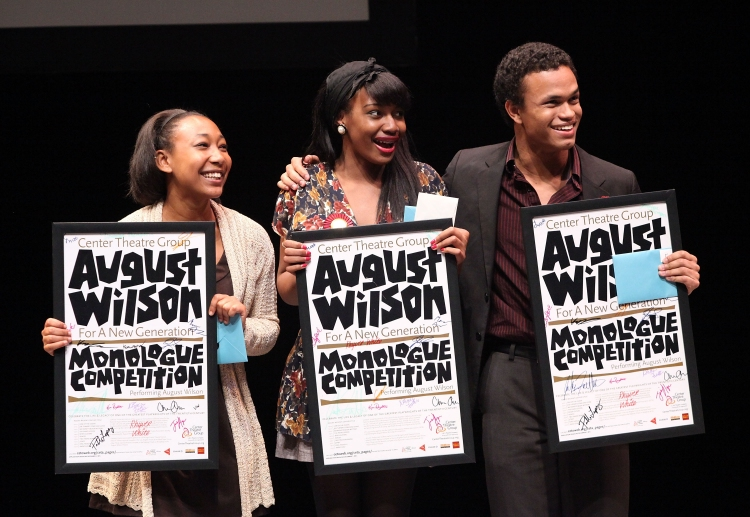 High Res 141795326RM07       LOS ANGELES, CA - MARCH 26: (L-R) The top three finalists Tyler Edwards, Jasmine Hogan and Christopher Smith accept their awards during the August Wilson Monologue Competition Regional Finals at Center Theatre Group's Mark Taper Forum on March 26, 2012 in Los Angeles, California. (Photo by Ryan Miller/Capture Imaging)