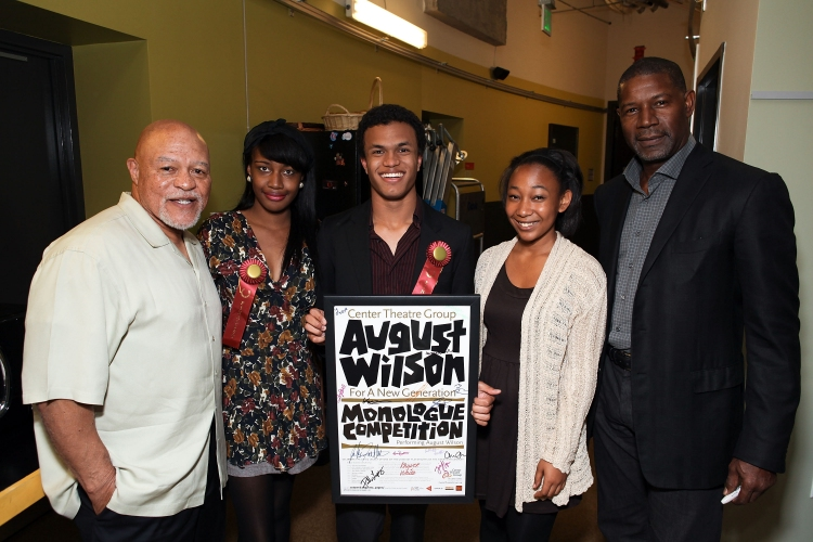 High Res 141795326RM09       LOS ANGELES, CA - MARCH 26: (L-R) Celebrity judge John Beasley, finalists Jasmine Hogan, Christopher Smith, Tyler Edwards and celebrity judge Dennis Haysbert pose during the August Wilson Monologue Competition Regional Finals at Center Theatre Group's Mark Taper Forum on March 26, 2012 in Los Angeles, California. (Photo by Ryan Miller/Capture Imaging)
