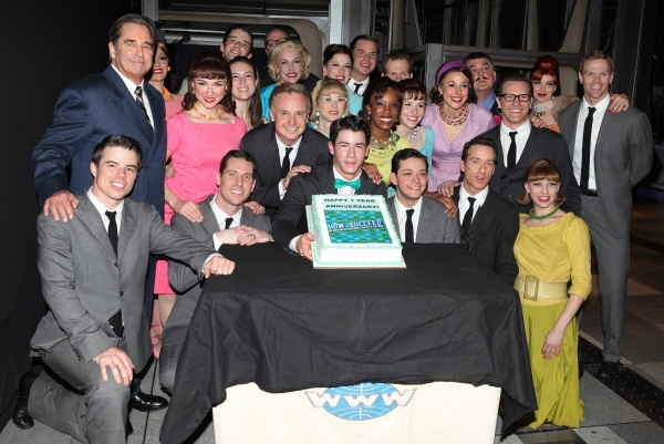 Beau Bridges, Nick Jonas & Michael Urie & company at HOW TO SUCCEED Celebrates 1 Year on Broadway!