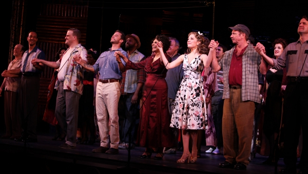 Phillip Hernandez, Stephen Wallem, Will Chase, Leslie Uggams, Laura Osnes, Tom Wopat & James Clow at PIPE DREAM's Opening Night Curtain Call!