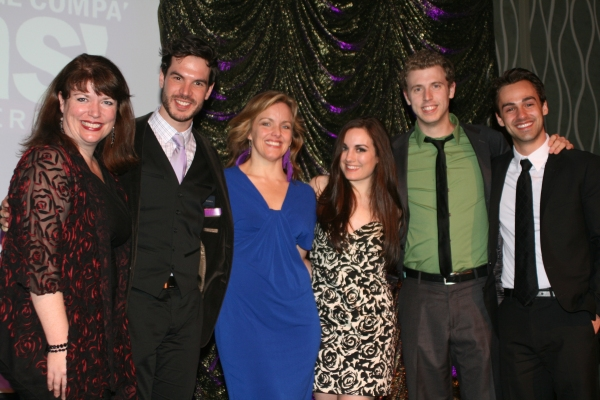 Alice Ripley with the cast of Next to Normal, Kerry A. Dowling, Chris Caron, Sarah Drake, Michael Levesque and Michael Taconni