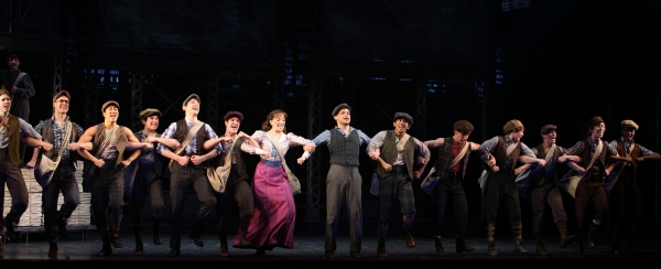 Ensemble Featuring: Ben Fankhauser,  Jeremy Jordan & Kara Lindsay during the 'NEWSIES' Opening Night Curtain Call at the Nederlander Theatre in New York on 3/29/2012