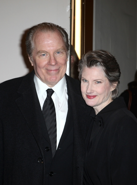 Annette O'Toole & Michael McKean exiting the Stager Door after  the Broadway Opening Night Performance of 'Gore Vidal's The Best Man' at the Gerald Schoenfeld Theatre in New York City on 4/1/2012