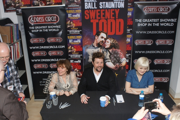 Imelda Staunton, Michael Ball and Lucy May Barker at Michael Ball, Imelda Staunton and More Sign SWEENEY TODD Albums at Dress Circle London