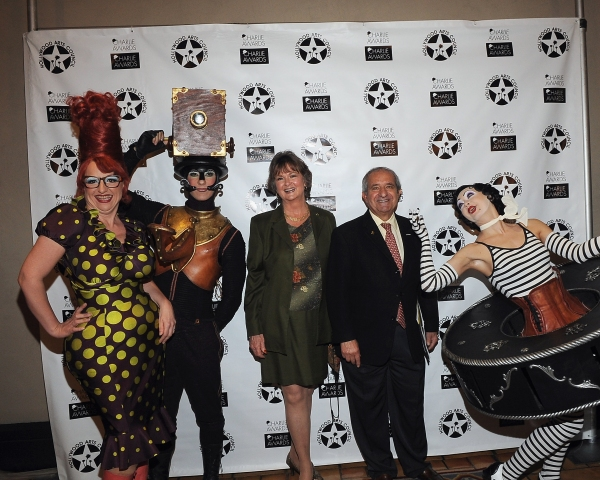 Cirque du Soleil's Iris characters pose with Hollywood Arts Council President Nyla Arslanian(Center-Left) and event producer Oscar Arslanian