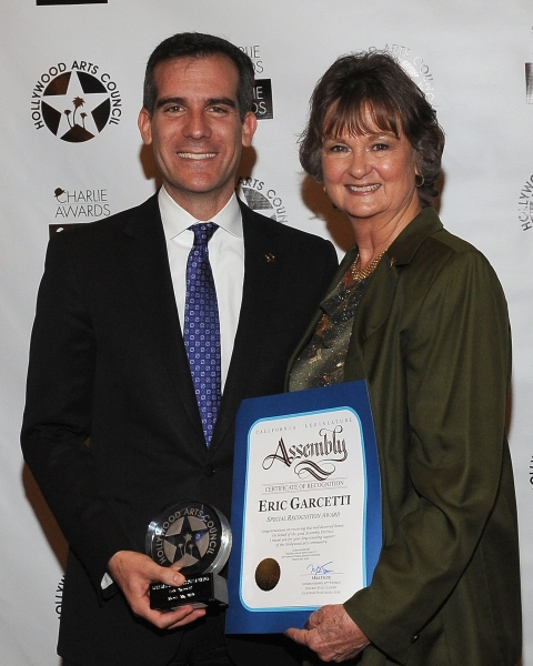 Los Angeles City Councilman Eric Garcetti and President of The Hollywood Arts Council Nyla Arslanian