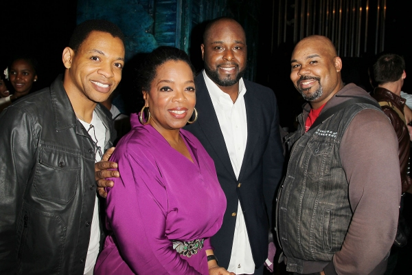 Derrick Baskin, Oprah Winfrey, J. Bernard Calooway, James Monroe Eiglehart at Oprah Winfrey and South African School Kids Visit MEMPHIS!