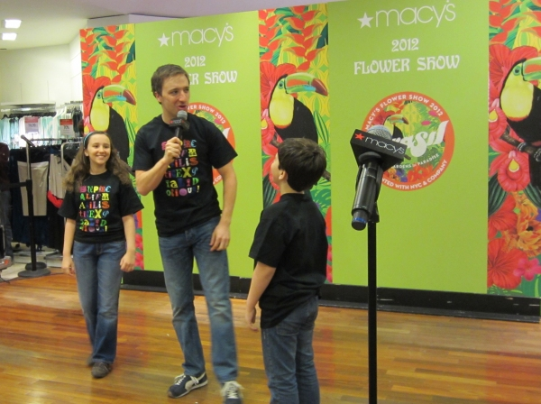Camille Mancuso, Chuck Rea, and Noah Marlowe at MARY POPPINS Visits the Macy's Flower Show!