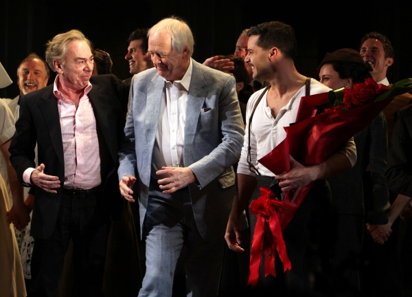 Andrew Lloyd Webber, Tim Rice & Ricky Martin  at EVITA Opening Night Bows Ricky Martin, Elena Roger, Michael Cerveris and More!