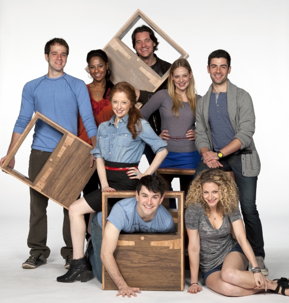 (Standing, from left) Kelsey Kurz, Nicole Lewis, Kate Morgan Chadwick, Heath Calvert, Jenni Barber and Adam Kantor; (on floor, from left) Alex Brightman and Lauren Molina