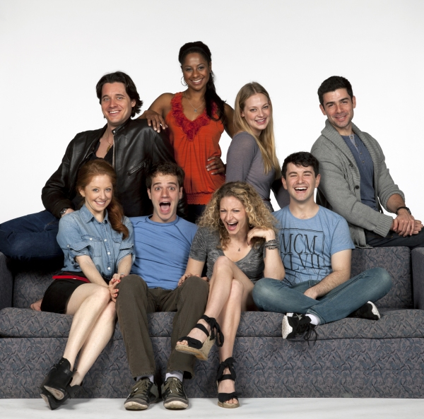 The cast of Nobody Loves You:  (front row, from left) Kate Morgan Chadwick, Kelsey Kurz, Lauren Molina and Alex Brightman; (back row, from left) Heath Calvert, Nicole Lewis, Jenni Barber and Adam Kantor.  The World Premiere of Nobody Loves You, with music at The Old Globe Announces NOBODY LOVES YOU Cast - Adam Kantor, Jenni Barber and More!