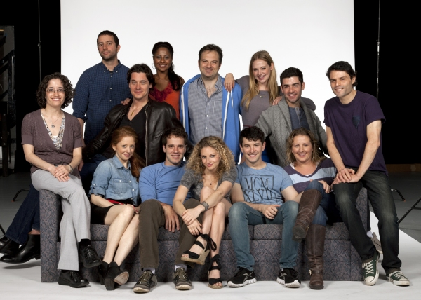 The cast and creative team of Nobody Loves You: (back row, from left) Playwright Itamar Moses, actors Heath Calvert, Nicole Lewis, music director Vadim Feichtner, actors Jenni Barber and Adam Kantor; (front row seated, from left) director Michelle Tattenb