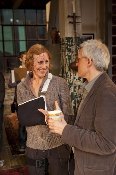 Sarah Agnew (Sarah Goodwin) from Time Stands Still talks with playwright Donald Margulies during rehearsals
