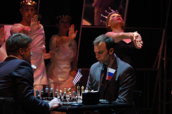 Gregg Goodbrod as Frederick and Tally Sessions as Anatoly at BWW Reviews:  Arvada Center's CHESS - Timeless Masterpiece