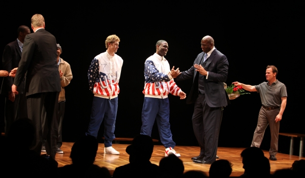 Larry Bird & Earvin 'Magic' Johnson with Robert Manning Jr., Francois Battiste, Tug C Photo