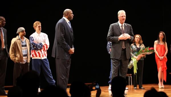 Robert Manning Jr., Francois Battiste, Tug Coker, Larry Bird, Earvin 'Magic' Johnson, Photo