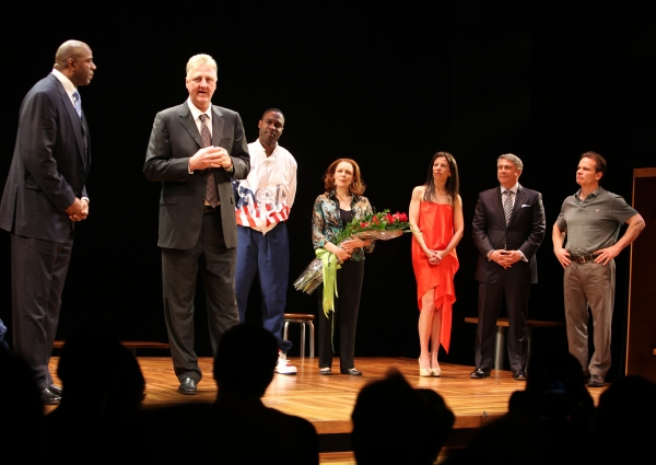 Earvin 'Magic' Johnson, Larry Bird, Kevin Daniels, Deirdre O'Connell, Fran Kirmser, Tony Ponturo & Peter Scolari  at MAGIC/BIRD Opens on Broadway - Magic Johnson, Larry Bird & More!