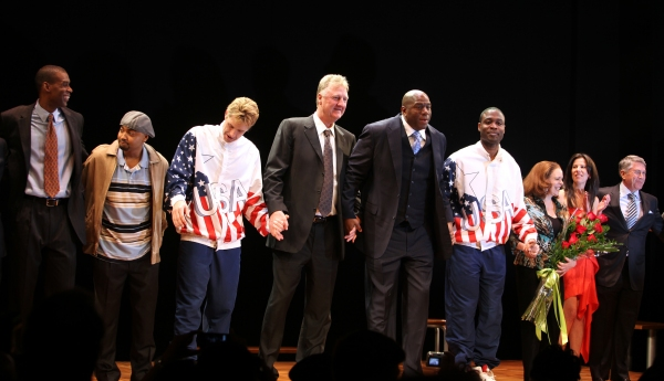 Robert Manning Jr., Francois Battiste, Tug Coker, Larry Bird, Earvin 'Magic' Johnson, Kevin Daniels, Deirdre O'Connell, Fran Kirmser & Tony Ponturo  at MAGIC/BIRD Opens on Broadway - Magic Johnson, Larry Bird & More!