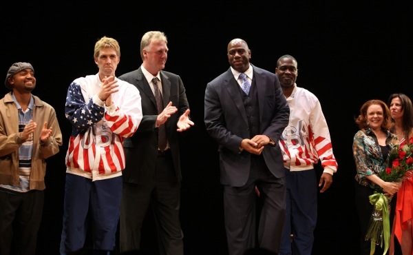 Francois Battiste, Tug Coker, Larry Bird, Earvin 'Magic' Johnson, Kevin Daniels, Deirdre O'Connell & Fran Kirmser  at MAGIC/BIRD Opens on Broadway - Magic Johnson, Larry Bird & More!