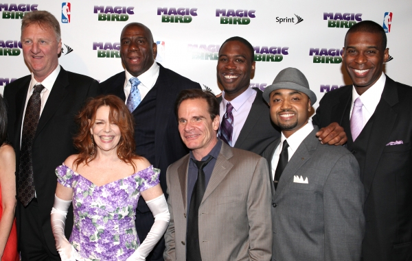 Larry Bird, Tug Coker, Kevin Daniels & Earvin 'Magic' Johnson with Eric Simonson, Tony Ponturo, Fran Kirmser, Deirdie O'Connell, Peter Scolari, Francois Battiste & Thomas Kail  at MAGIC/BIRD Company Celebrates Broadway Opening at After Party!