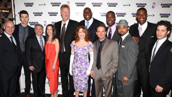 Larry Bird, Tug Coker, Kevin Daniels & Earvin 'Magic' Johnson with Eric Simonson, Tony Ponturo, Fran Kirmser, Deirdie O'Connell, Peter Scolari, Francois Battiste & Thomas Kail