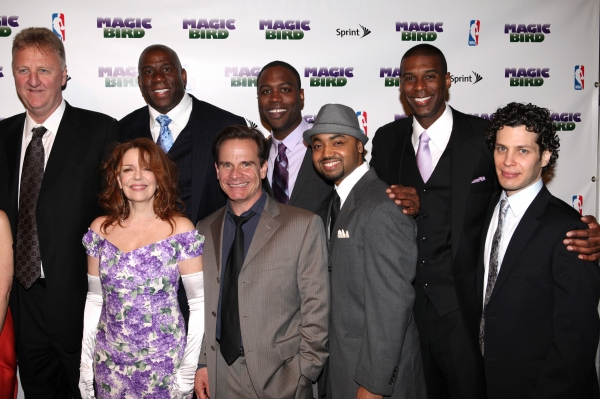 Larry Bird, Tug Coker, Kevin Daniels & Earvin 'Magic' Johnson with Deirdie O'Connell, Peter Scolari, Francois Battiste & Thomas Kail at MAGIC/BIRD Company Celebrates Broadway Opening at After Party!