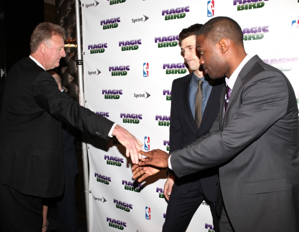 Larry Bird with Tug Coker & Kevin Daniels  at MAGIC/BIRD Company Celebrates Broadway Opening at After Party!