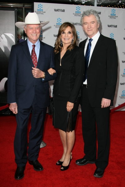 Larry Hagman, Linda Gray and Patrick Duffy at Liza Minnelli & Co. At The CABARET 40th Anniversary Screening