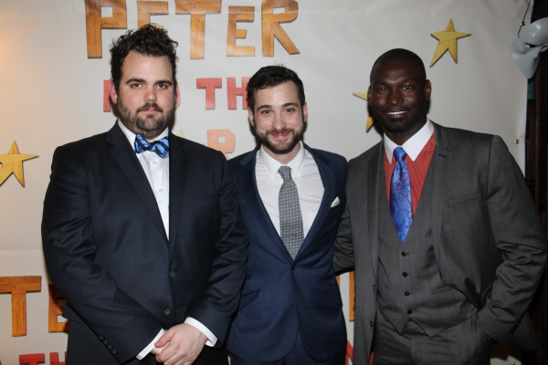 Greg Hildreth, Teddy Bergman and Isaiah Johnson at PETER AND THE STARCATCHER Opening Night Party