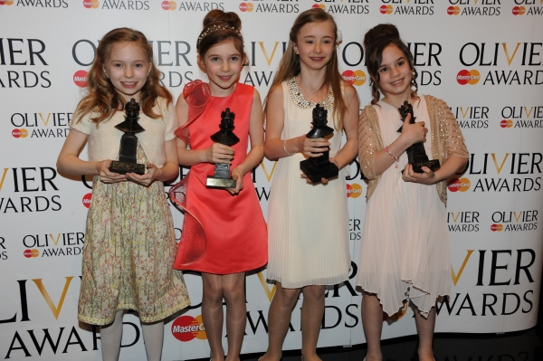 The girls who play Matilda in 'Matilda the musical': Hayley Canham, Jade Merner, Cleo Demetriou, Isobelle Molloy