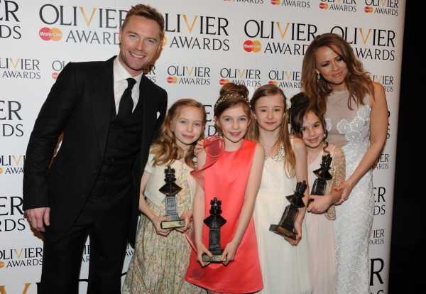 Kimberly Walsh and Ronan Keating with (L- R) Sophia Kiely, Eleanor Worthington Cox, Kerry Ingram and Cleo Demetriou, winners of Best in a Musical for 'Matilda the Musical'