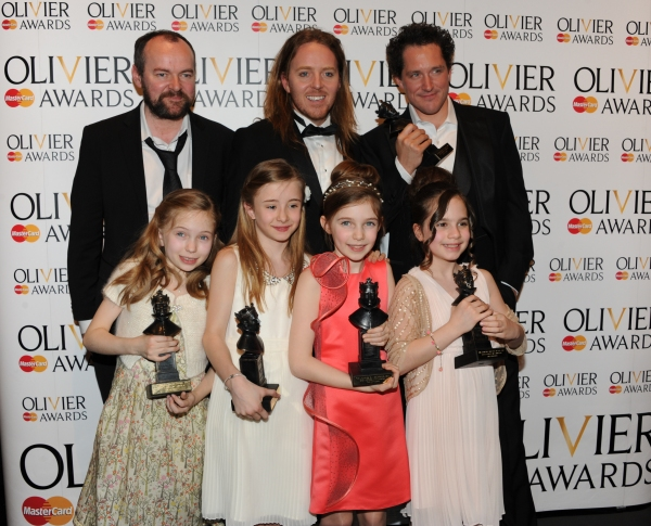 Matthew Warchus, Tim Minchin and Bertie Carvelwith (L- R) Sophia Kiely, Eleanor Worthington Cox, Kerry Ingram and Cleo Demetriou, winners of Best in a Musical for 'Matilda the Musical'