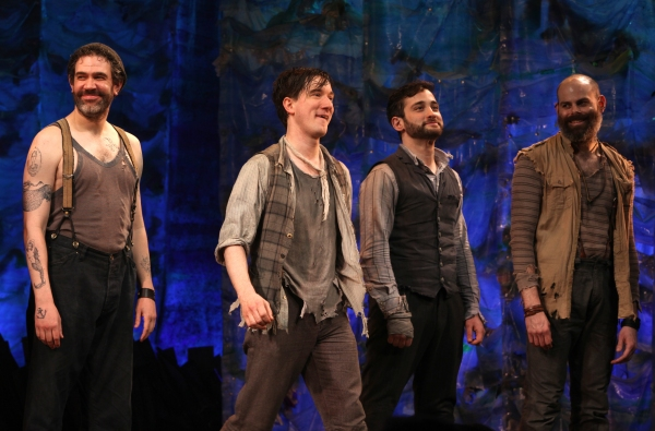 Kevin Del Aguila, Carson Elrod, Teddy Bergman & Matt D'Amico at PETER AND THE STARCATCHER - Opening Night Curtain Call on Broadway!