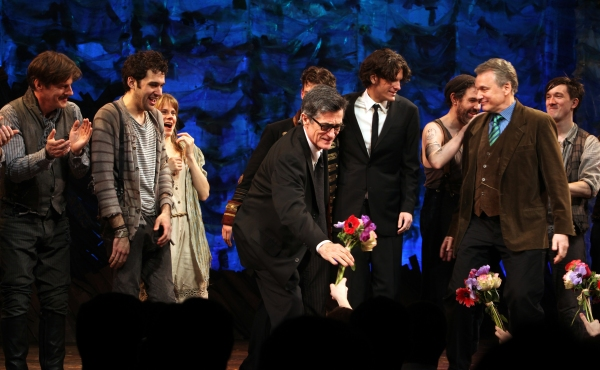 Rick Holmes, Adam Chandler-Berat, Celia Keenan-Bolger, Roger Rees, Christian Borle, Alex Timbers, Rick Elice, Kevin Del Aguila & Carson Elrod at PETER AND THE STARCATCHER - Opening Night Curtain Call on Broadway!
