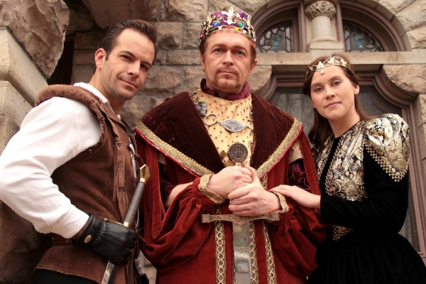 Travis Risner as Lancelot, David Ambroson as King Arthur, Rachelle Wood as Guenevere at NOW PLAYING: Performance Now Presents CAMELOT thru 4/29