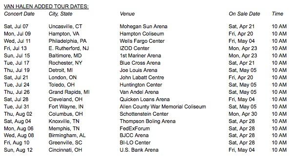 Van Halen Kicks Off North American Tour Tonight, 7/7