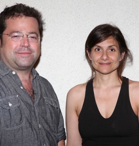 "Director Peter DuBois and Playwright Gina Gionfriddo attending the Meet & Greet for the Playwrights Horizons production of ""Rapture, Blister, Burn'  at their rehearsal studio in New York City on 4/17/2012"