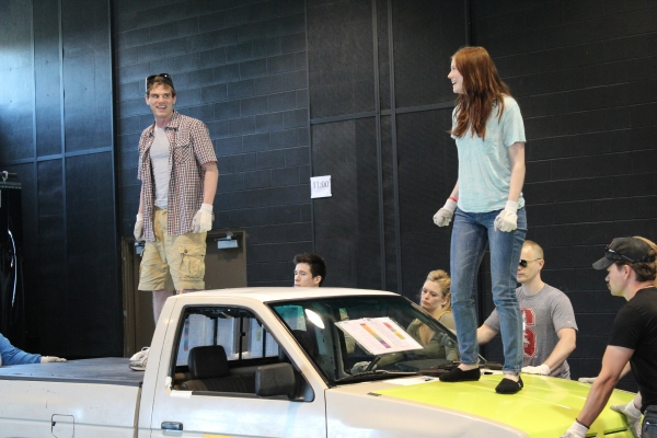 Jay Armstrong Johnson and Allison Case  at Hunter Foster, Allison Case, et al. In Rehearsal for La Jolla's HANDS ON A HARDBODY!