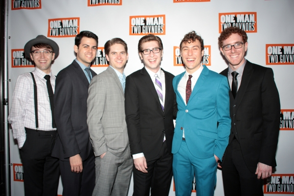 Zach Jones, Jacob Colin Cohen, Austin Moorhead, Charlie Rosen, Jason Rabinowitz, Matt Cusack at ONE MAN, TWO GUVNORS Opens on Broadway - Curtain Call and After Party!