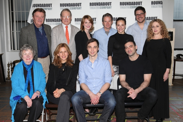 Larry Bryggman, Charles Kimbrough, Holley Fain, Peter Benson, Tracee Chimo, Rich Sommer, Carol Kane, Angela Paton, Jessica Hecht, Jim Parsons & Morgan Spector at Cast of HARVEY Meets the Press!