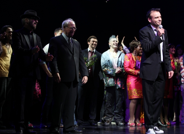 Dave Stewart, Bruce Joel Rubin & Director Matthew Warchus & Company at GHOST THE MUSICAL - Opening Night Curtain Call!