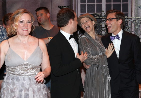 Kathleen Marshall, David Eggers (Gypsy Recepient - CURTAINS), Kelli O'Hara, Eric Sciotto (Gypsy Recepient - PAL JOEY)  at NICE WORK IF YOU CAN GET IT Gypsy Robe Ceremony!